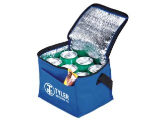 6-Can Cooler With Foil Liner and Pocket - Non-Woven/Foil Lining